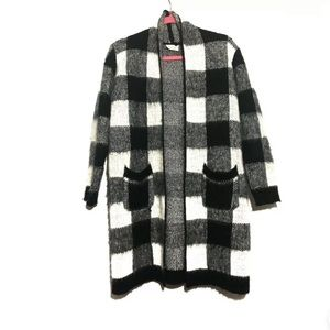 Emory Park Buffalo Plaid Open Cardigan Sweater